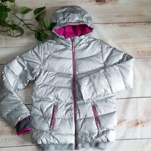 Lands End Silver Puffer Girl's Jacket Sz XL(16)